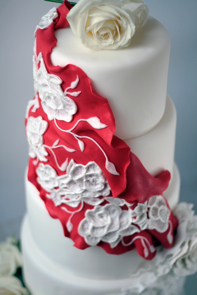 Flamenco ruffled wedding cake
