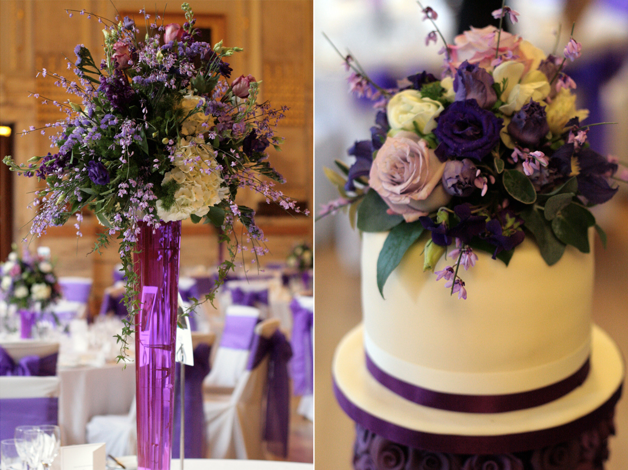 Pin Purple Flowers And Butterfly Wedding Cake — Square
