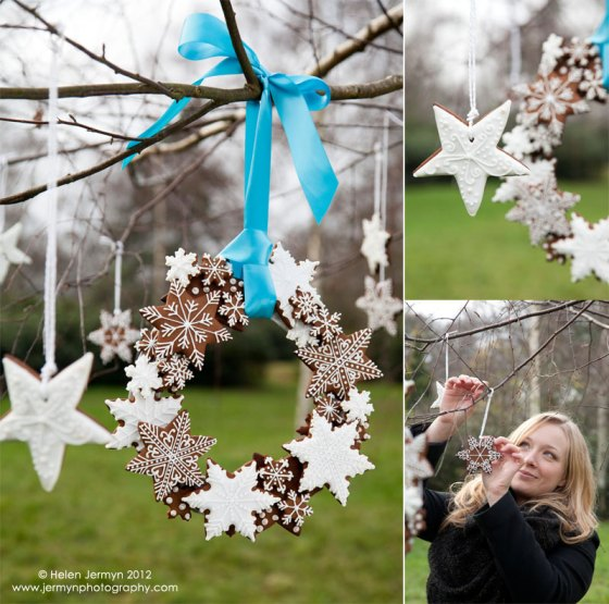 Iced snowflake biscuits make a stunning wreath