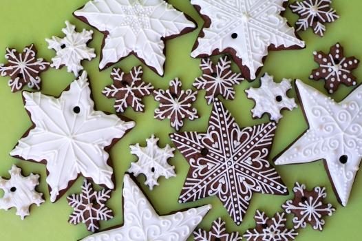snowflake tree cookies