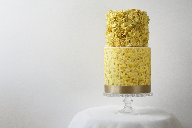 Gold and green ruffle cake